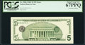 Third Printing on Back Error Fr. 1988-J $5 2001 Federal Reserve Note. PCGS Superb Gem New 67PPQ