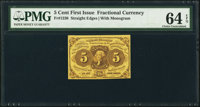 Fr. 1230 5¢ First Issue PMG Choice Uncirculated 64 EPQ