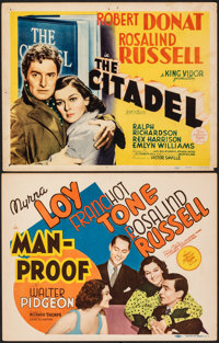 "Man-Proof & Other Lot (MGM, 1938). Fine/Very Fine. Title Lobby Cards (2) (11"" X 14""). Comedy. ... (Tot..."