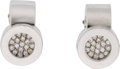 """Luxury Accessories:Accessories, Chanel Diamond & 18k White Gold La Ronde Earrings. Condition: 2. 0.5"""" Height x 0.3"""" Width. ..."""