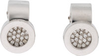 "Chanel Diamond & 18k White Gold La Ronde Earrings Condition: 2 0.5"" Height x 0.3"" Width"