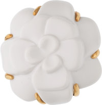 "Chanel White Agate & 18k Gold Camellia Brooch Condition: 1 1.5"" Diameter"