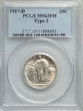 1917-D 25C Type Two MS63 Full Head PCGS. PCGS Population: (107/235). NGC Census: (66/115). CDN: $425 Whsle. Bid for prob...