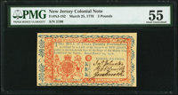 New Jersey March 25, 1776 £3 PMG About Uncirculated 55
