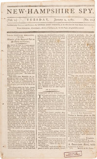 Shay's Rebellion: 1787 New Hampshire Newspaper