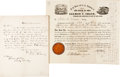 Autographs:Statesmen, William H. Seward and Salmon P. Chase: Letter and Document. ... (Total: 2 Items)