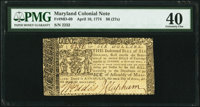 Maryland April 10, 1774 $6 PMG Extremely Fine 40