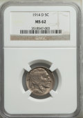 1914-D 5C MS62 NGC. NGC Census: (154/492). PCGS Population: (124/966). CDN: $385 Whsle. Bid for problem-free NGC/PCGS MS...