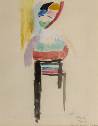 Sonia Delaunay (1885-1979) Danseuse, 1917 Watercolor on paper laid on rice paper 10-1/2 x 8 inches (26.7 x 20.3 cm)