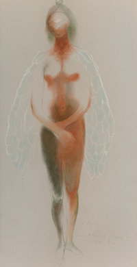 Guillermo Meza (1917-1997) Untitled (two works), 1968 Pencil and pastel on paper, each 18-1/4 x 1