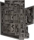 Sculpture, Louise Nevelson (1899-1988). Moon Zag III, 1979. Black painted wood construction. 25-1/2 x 28 x 7-3/4 inches (64.8 x 71....