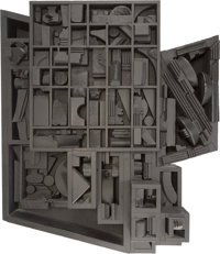 Louise Nevelson (1899-1988) Moon Zag III, 1979 Black painted wood construction 25-1/2 x 28 x 7-3/
