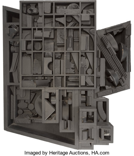 Louise Nevelson (1899-1988) Moon Zag III, 1979 Black painted wood construction 25-1/2 x 28 x 7-3/4 inches (64.8 x 71....