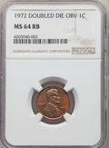 1972 1C Doubled Die Obverse MS64 Red and Brown NGC. NGC Census: (317/216). PCGS Population: (397/174). CDN: $300 Whsle...