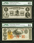 Obsoletes By State:Louisiana, New Orleans, LA- Citizens' Bank of Louisiana $1 18__ Remainder PMG Choice Uncirculated 63 EPQ;. Charleston, SC- Office... (Total: 2 notes)