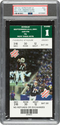 Football Collectibles:Tickets, 2001 New England Patriots vs. New York Jets Full Ticket - Tom Brady's Takes Over for Bledsoe, PSA NM 7....