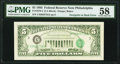 Third Printing on Back Error Fr. 1978-C $5 1985 Federal Reserve Note. PMG Choice About Unc 58