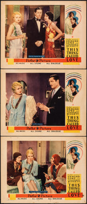 "This Thing Called Love (Pathé, 1929). Fine+. Lobby Cards (3) (11"" X 14""). Comedy. From the Collection o..."