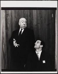 """Alfred Hitchcock & Francois Truffaut by Philippe Halsman (c. 1970s). Very Fine+. Publicity Photo (11"""" X 14""""..."""