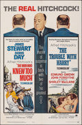 "Movie Posters:Hitchcock, The Man Who Knew Too Much/The Trouble with Harry Combo (Paramount, R-1963). Folded, Very Fine-. One Sheet (27"" X 41"") & Uncu... (Total: 2 Items)"
