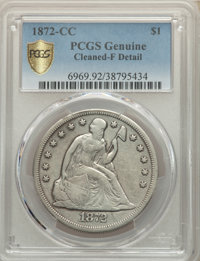 1872-CC $1 OC-1, High R.3 -- Cleaned -- PCGS Genuine. Fine Details. Mintage 3,150. From The McDonald Family Collection...