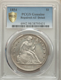 1854 $1 OC-1, High R.3 -- Repaired -- PCGS Genuine. AU Details. Mintage 33,140. From The McDonald Family Collection...