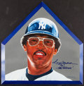 Baseball Collectibles:Others, 2000 Reggie Jackson Signed & Inscribed Original Artwork Home Plate. ...