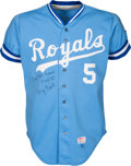 Baseball Collectibles:Uniforms, 1983 George Brett Game Worn & Signed Kansas City Royals Jersey, MEARS A10--From the Pine Tar Game!...