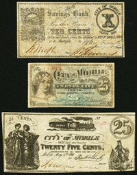 Mobile, AL Fractional Notes Fine. City of Mobile 25¢ May 4, 1865; City of Mobile 25¢ ND (1873); Mobile Savings...