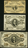 Fractional Currency:Third Issue, Fr. 1226 3¢ Third Issue Fine, soiling;. Fr. 1238 5¢ Third Issue Choice New;. Fr. 1251 10¢ Third Issue Choice New.. ... (Total: 3 notes)