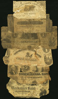 Six Obsoletes 1830s-60s Poor. Danbury, (CT)- Danbury Bank Spurious $1, white sticker on back; Georgetown, DC- Commer...