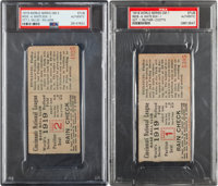 1919 World Series Games One & Two Ticket Stubs, PSA Authentic.... (Total: 2 item)
