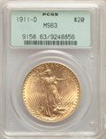 1911-D $20 MS63 PCGS. PCGS Population: (3006/7114). NGC Census: (3311/6662). CDN: $1,650 Whsle. Bid for NGC/PCGS MS63. M...