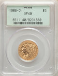 1908-D $5 XF40 PCGS. PCGS Population: (6/3364). NGC Census: (2/2765). XF40. Mintage 148,000. ...(PCGS# 8511)