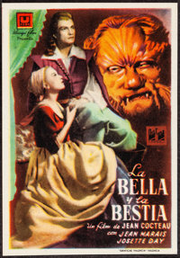 "La Belle et la Bete & Other Lot (Ulargui Films, 1950). Overall: Very Fine. Spanish Herald (3.5"" X 5"") &..."