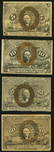 Fractional Currency:Second Issue, Fr. 1232 5¢ Second Issue Very Fine;. Fr. 1244 10¢ Second Issue Very Fine;. Fr. 1289 25¢ Second Issue Very Fine;. F... (Total: 4 notes)