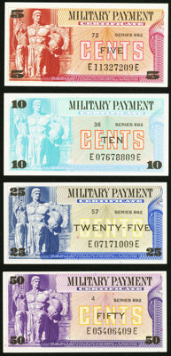 Series 692 5¢; 10¢; 25¢; 50¢ Choice New. ... (Total: 4 notes)