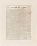 Political:Small Paper (pre-1896), Abraham Lincoln: New York Semi-Weekly Tribune of February 28, 1860 with First Day Printing o...