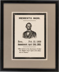 "Political:Posters & Broadsides (pre-1896), Abraham Lincoln: Mourning Broadside. 9.5"" x 13"" [s..."