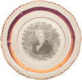 Political:3D & Other Display (pre-1896), Andrew Jackson: Unusual Small Strawberry Luster Plate....