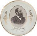 Political:3D & Other Display (pre-1896), James A. Garfield: Portrait Plate with Unusual Decoration....
