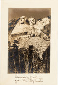 Autographs:Artists, Gutzon Borglum: Mt. Rushmore Autographed Christmas Card....