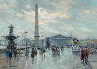 Antoine Blanchard (French, 1910-1988) Place de la Concorde Oil on canvas 13 x 18 inches (33.0 x 45.7 cm) Signed lowe