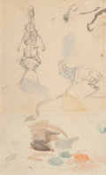 Works on Paper, Attributed to Honoré Daumier (French, 1808-1879). Anatomical studies of a goat. Watercolor and ink on paper. 11-3/4 x 7 ...