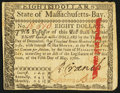 Colonial Notes:Massachusetts, Signed by Loammi Baldwin Massachusetts May 5, 1780 $8 Very Fine-Extremely Fine.. ...