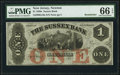 Newton, NJ- Sussex Bank $1 18__ G10a Remainder PMG Gem Uncirculated 66 EPQ