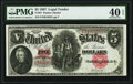 Large Size:Legal Tender Notes, Fr. 87 $5 1907 Legal Tender PMG Extremely Fine 40 EPQ.. ...