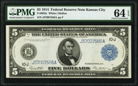 Fr. 883a $5 1914 Federal Reserve Note PMG Choice Uncirculated 64 EPQ