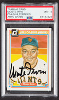 """Autographs:Sports Cards, Signed 1983 Donruss """"Hall of Fame Heroes"""" Monte Irvin #15 PSA/DNA Mint 9..."""