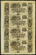 Obsoletes By State:Louisiana, New Orleans, LA- Canal Bank $10-$10-$10-$10 18__ Uncut Sheet Very Fine-Extremely Fine.. ...